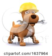 Poster, Art Print Of 3d Puppy Mechanic On A White Background