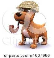 3d Detective Dog On A White Background by Steve Young