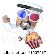 3d Funny Cartoon Arab Sheik Character Eating Popcorn At The Movies On A White Background