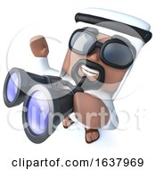 3d Funny Cartoon Arab Sheik Character Using A Pair Of Binoculars On A White Background by Steve Young