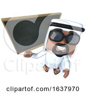 3d Funny Cartoon Arab Sheik Character Teaching At The Blackboard On A White Background by Steve Young