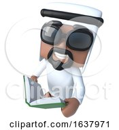 3d Funny Cartoon Arab Sheik Character Reading A Book On A White Background by Steve Young