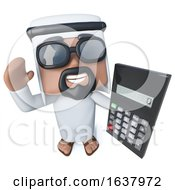 3d Funny Cartoon Arab Sheik Character Holding A Calculator On A White Background by Steve Young
