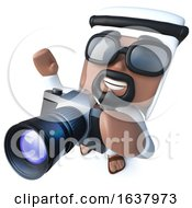 3d Funny Cartoon Arab Sheik Character Taking A Photo With A Camera On A White Background by Steve Young