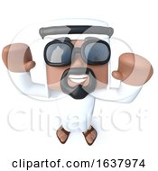 3d Funny Cartoon Arab Sheik Character Is Cheering With Joy On A White Background by Steve Young