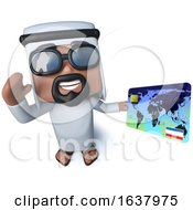 3d Funny Cartoon Arab Sheik Character Holding A Debit Card On A White Background by Steve Young