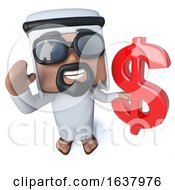 3d Funny Cartoon Arab Sheik Character Holding A US Dollar Currency Symbol On A White Background