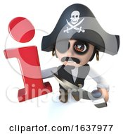 3d Funny Cartoon Pirate Captain Character Holding An Information Symbol On A White Background by Steve Young