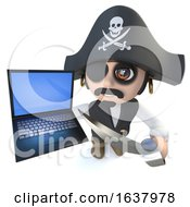 3d Funny Cartoon Pirate Captain Character Holding A Laptop Computer Device On A White Background by Steve Young