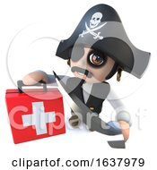 3d Funny Cartoon Pirate Captain Character Holding A First Aid Kit On A White Background by Steve Young