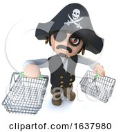 3d Funny Cartoon Pirate Captain Carrying Shopping Baskets On A White Background by Steve Young