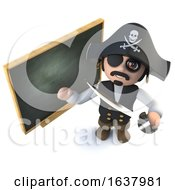 3d Funny Cartoon Pirate Captain Standing At A Blackboard On A White Background by Steve Young