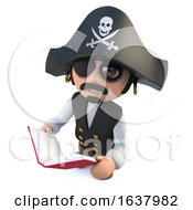 3d Funny Cartoon Pirate Captain Reading A Book On A White Background by Steve Young