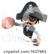 3d Funny Cartoon Pirate Captain Holding A Human Brain On A White Background by Steve Young