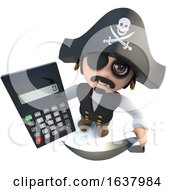 3d Funny Cartoon Pirate Captain Holding A Digital Calculator On A White Background by Steve Young