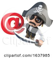 3d Funny Cartoon Pirate Captain Holding An Email Address Symbol On A White Background by Steve Young