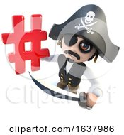 3d Funny Cartoon Pirate Captain Holding A Hashtag Symbol On A White Background by Steve Young