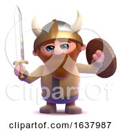 3d Fierce Viking On A White Background by Steve Young