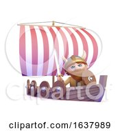 3d Viking Goes Sailing On A White Background