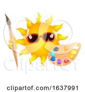 3d Sun Artist On A White Background