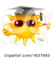 3d Sun Graduates On A White Background