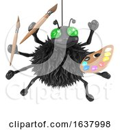 3d Halloween Spider Is An Artist On A White Background