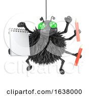 3d Spider With Notepad And Pencils On A White Background