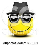 Poster, Art Print Of Funny Cartoon 3d Smiley Face Character Wearing Sunglasses And Trilby Hat On A White Background