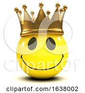 Poster, Art Print Of 3d Smiley King On A White Background
