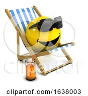Poster, Art Print Of 3d Smiley Holiday On A White Background
