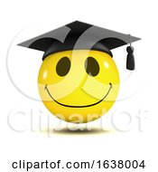 3d Graduate Smiley Face Character Wearing A Mortar Board On A White Background by Steve Young