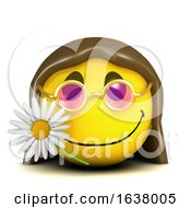 Poster, Art Print Of Funny Cartoon 3d Smiley Face Character With Long Hair And A Flower On A White Background