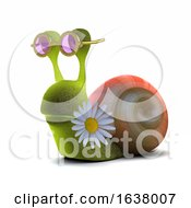 3d Hippy Snail On A White Background