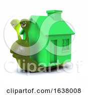 3d Mobile Home Snail On A White Background