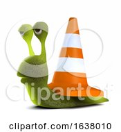 3d Snail Roadworks On A White Background