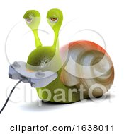 3d Gamer Snail On A White Background by Steve Young