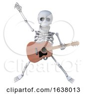 3d Skeleton Dances With His Acoustic Guitar On A White Background by Steve Young