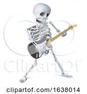 3d Skeleton Strikes A Pose As He Plays A Riff On His Electric Guitar On A White Background by Steve Young
