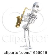 3d Skeleton Plays Jazz On A Saxophone On A White Background by Steve Young