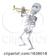 3d Skeleton Playing A Trumpet On A White Background by Steve Young