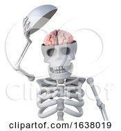 3d Skeleton Reveals His Brain On A White Background by Steve Young