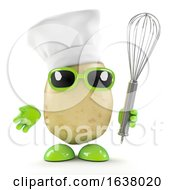 3d Chef Potato With Whisk On A White Background