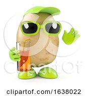 3d Potato At A Party On A White Background by Steve Young
