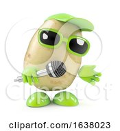 3d Potato Sings The Blues On A White Background by Steve Young