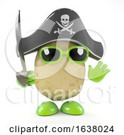 3d Potato Pirate On A White Background by Steve Young