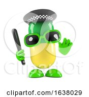 3d Medicine Pill Dressed As Police Officer On A White Background