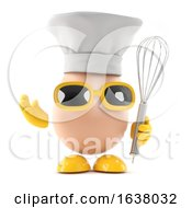 3d Egg And Whisk On A White Background