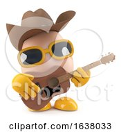 3d Cowboy Egg Plays Acoustic Guitar On A White Background