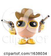 3d Cowboy Egg On A White Background
