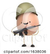 3d Cute Toy Egg Dressed As A Soldier On A White Background
